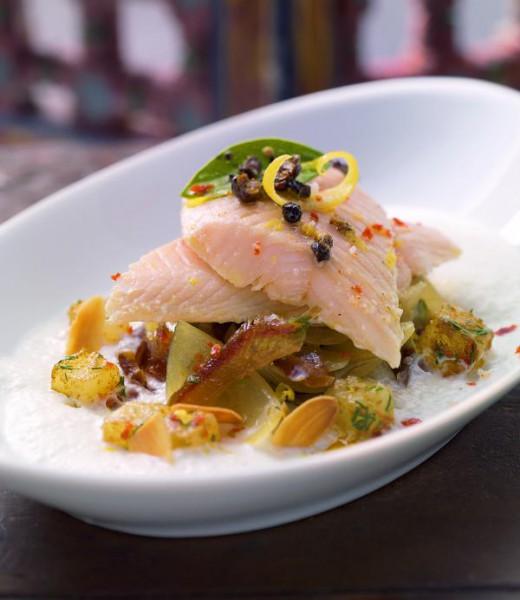 Süsssauer marinierter Saibling auf Zwiebel-Dattel-Salat mit Harissa-Kartoffeln