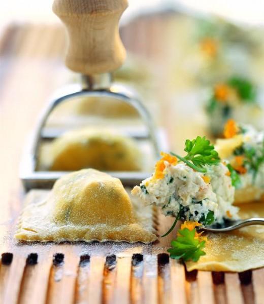 Bärlauchravioli mit Spinat und Frischkäse