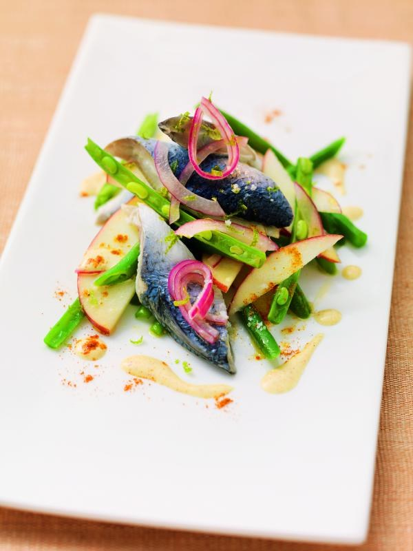 Bismarckhering auf Bohnen-Apfel-Salat mit Curryjoghurt