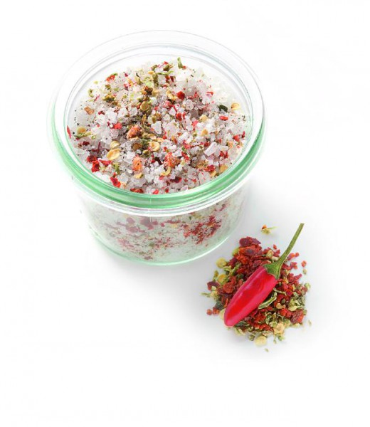 Rot-Grünes Chili-Vanillesalz