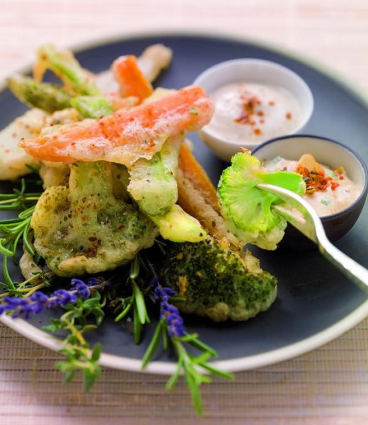 Gebackenes Gemüse mit zweierlei Dips