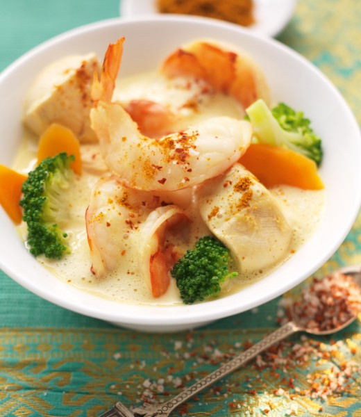 Hähnchen-Garnelen-Curry mit Brokkoli
