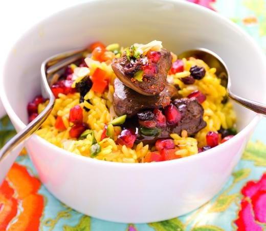 Reisfleisch mit Hähnchen und Pilzen