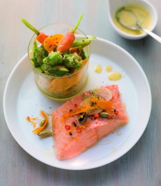 Lachsfilet mit Chili-Orangen-Butter und Gemüsesalat