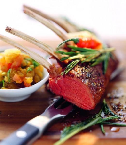 Lammkarree mit Curry-Auberginen-Püree