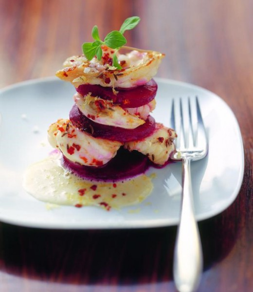 Mit Kümmel gebratene Lotte auf Kartoffel-Majoran-Sauce