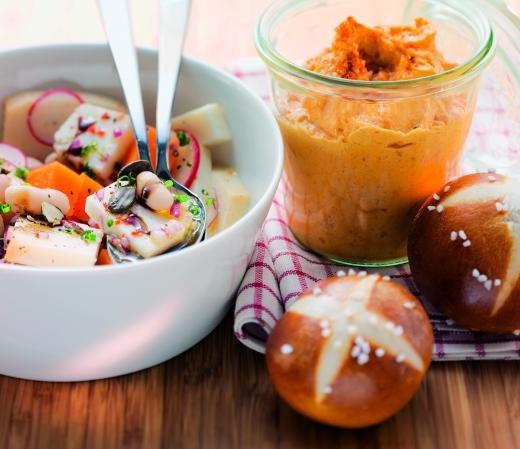 Waldviertler Topfenkas mit Kartoffeln und Paprika