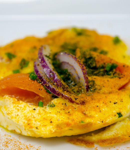 Offenes Gold-Omelett mit Tomate und Mozzarella