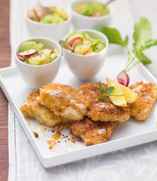 Gebackener Rotbarsch mit Kartoffel-Gurken-Salat