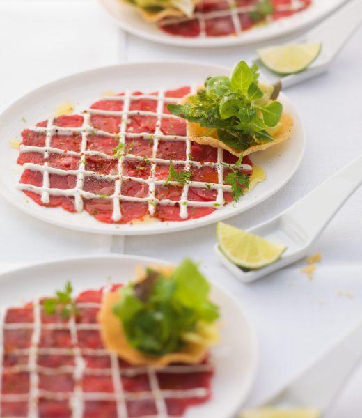 Carpaccio mit Parmesan-Chip